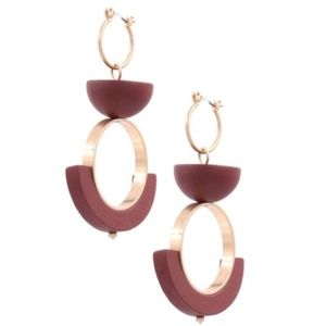 Abstract burgundy gold balancing scales earrings